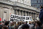 G20 meltdown protest outside the Bank of England. Thousands of protesters marched on the city of London during the G20 conference meeting  in London April 2009 , RBS  Bank windows were smashed on the ground floor. Police made around 90 arrests.