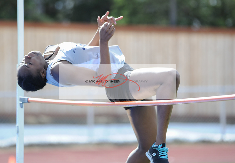 7904<br /> <br /> Eagle River&rsquo;s Francesca Jefferson clears her attempt in the high jump Friday at Service High.  Photo for the Star by Michael Dinneen