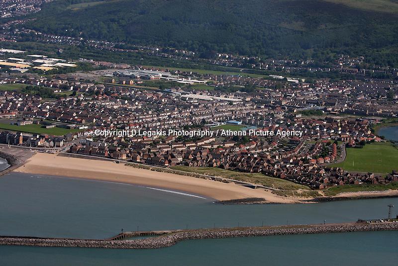 Aerial view of Port Talbot and Aberavon Beach