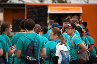 "Members wait in line at a food truck for lunch during ""Circle the City with Service,"" the Kiwanis Circle K International's 2015 Large Scale Service Project, on Wednesday, June 24, 2015, in Indianapolis. (Photo by James Brosher)"