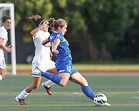 Boston Breakers forward Katie Schoepfer (12) passes the ball.  In a National Women's Soccer League Elite (NWSL) match, the Boston Breakers (blue) tied Western New York Flash (white), 2-2, at Dilboy Stadium on June 5, 2013.