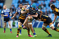 Zach Mercer of Bath Rugby takes on the Wasps defence. Heineken Champions Cup match, between Wasps and Bath Rugby on October 20, 2018 at the Ricoh Arena in Coventry, England. Photo by: Patrick Khachfe / Onside Images