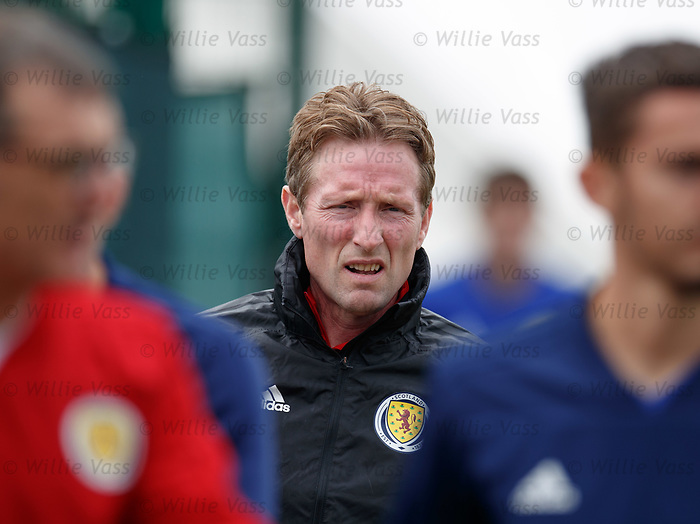 02.09.2019 Scotland u-21 training, Oriam, Edinburgh.<br /> Head coach Scot Gemmill arrives for training ahead of the upcoming UEFA European Under-21 Championship Qualifier against San Marino this Thursday evening in Paisley.