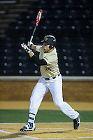 Gavin Sheets (24) of the Wake Forest Demon Deacons follows through on his swing against the Davidson Wildcats at David F. Couch Ballpark on February 28, 2017 in Winston-Salem, North Carolina.  The Demon Deacons defeated the Wildcats 13-5.  (Brian Westerholt/Four Seam Images)