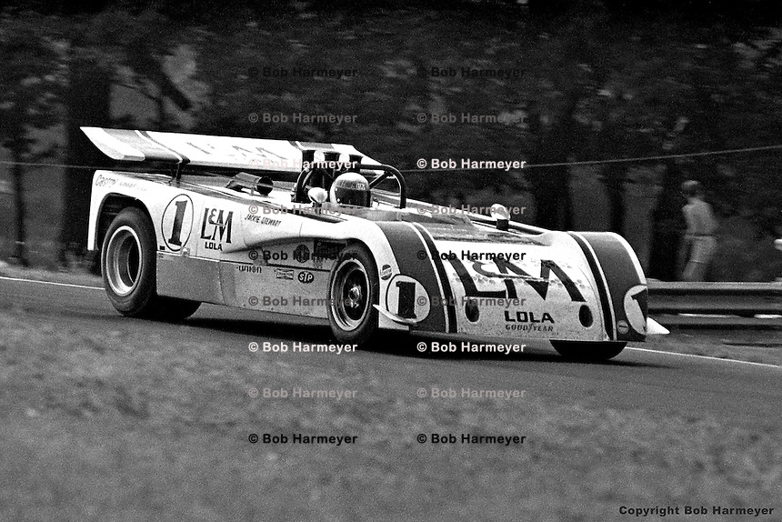 Jackie Stewart drives the 1971 L&M Lola-Chevrolet Can-Am car at the Mid-Ohio Sports Car Course, Lexington, Ohio, USA.