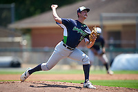 Vermont Lake Monsters starting pitcher Heath Bowers (19) during a game against the Auburn Doubledays on July 13, 2016 at Falcon Park in Auburn, New York.  Auburn defeated Vermont 8-4.  (Mike Janes/Four Seam Images)