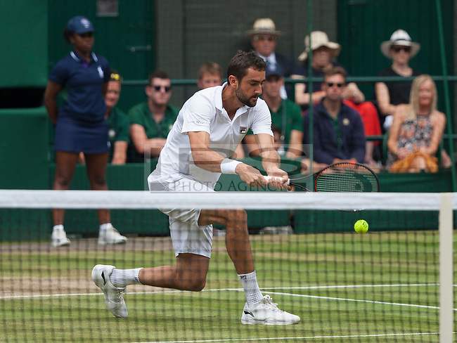 Marin Cilic (CRO) in action during the Mens Final match against Roger Federer (SUI), Wimbledon Championships 2017, Day 13, Mens Final, All England Lawn Tennis & Croquet Club, Church Rd, London, United Kingdom - 16th July 2017