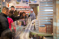 Visitors to the New York City Transit Museum in Grand Central Terminal in New York on Sunday, November 20, 2016 enjoy the 15th Annual Holiday Train Show. Lionel trains depart and arrive at Grand Central Terminal and travel around New York in miniature at the show which runs until February 26, 2017.  (© Richard B. Levine)