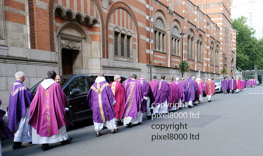 Pic shows: Funeral of  Cardinal Cormac Murphy-O&rsquo;Connor, archbishop emeritus of Westminster<br /> <br /> At Westminster Cathedral.<br /> <br /> Procession into the church of priests and other clergy from different denominations<br /> <br /> <br /> <br /> <br /> Pic by Gavin Rodgers/Pixel 8000 Ltd