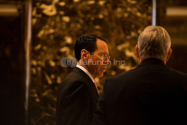 Randall Stephenson, the CEO of AT&amp;T arrives at Trump Tower in Manhattan, New York, U.S., on Thursday, Thursday, January 12, 2017. <br /> Credit: John Taggart / Pool via CNP /MediaPunch