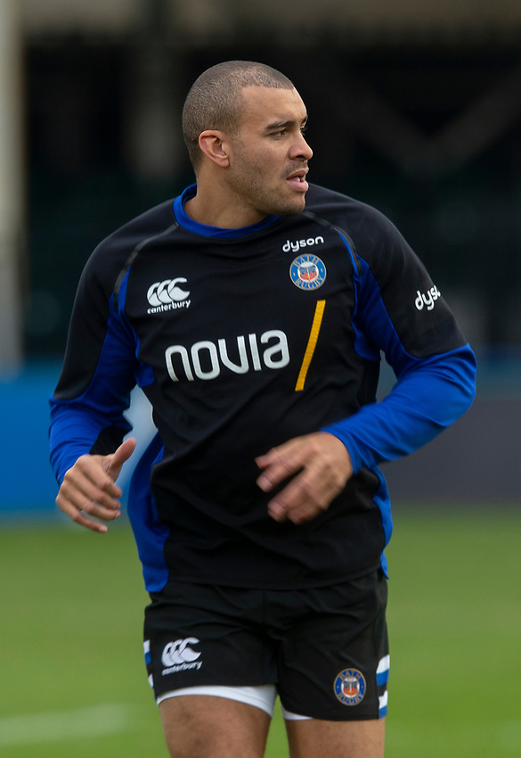 Jonathan Joseph during the pre match warm up as he nears a return to rugby<br /> <br /> Photographer Bob Bradford/CameraSport<br /> <br /> European Rugby Heineken Champions Cup Pool 1 - Bath Rugby v Wasps - Saturday 12th January 2019 - The Recreation Ground - Bath<br /> <br /> World Copyright © 2019 CameraSport. All rights reserved. 43 Linden Ave. Countesthorpe. Leicester. England. LE8 5PG - Tel: +44 (0) 116 277 4147 - admin@camerasport.com - www.camerasport.com