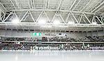 Stockholm 2015-03-14 Bandy SM-final herrar Sandvikens AIK - V&auml;ster&aring;s SK :  <br /> Vy &ouml;ver Tele2 Arena med publik och tomma l&auml;ktarsektioner under lineup inf&ouml;r matchen mellan Sandvikens AIK och V&auml;ster&aring;s SK <br /> (Foto: Kenta J&ouml;nsson) Nyckelord:  SM SM-final final Bandyfinal Bandyfinalen herr herrar VSK V&auml;ster&aring;s SAIK Sandviken inomhus interi&ouml;r interior supporter fans publik supporters