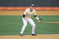 Wake Forest Demon Deacons shortstop Johnny Aiello (2) on defense against the Harvard Crimson at David F. Couch Ballpark on March 5, 2016 in Winston-Salem, North Carolina.  The Crimson defeated the Demon Deacons 6-3.  (Brian Westerholt/Four Seam Images)