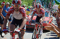 Lars Bak (DEN/Lotto-Soudal) experiencing the craziness at the Dutch Corner (nr7) up Alpe d'Huez<br /> <br /> stage 20: Modane Valfréjus - Alpe d'Huez (111km)<br /> 2015 Tour de France
