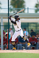 GCL Pirates Deion Walker (6) at bat during a Gulf Coast League game against the GCL Twins on August 6, 2019 at Pirate City in Bradenton, Florida.  GCL Twins defeated the GCL Pirates 4-2 in the first game of a doubleheader.  (Mike Janes/Four Seam Images)
