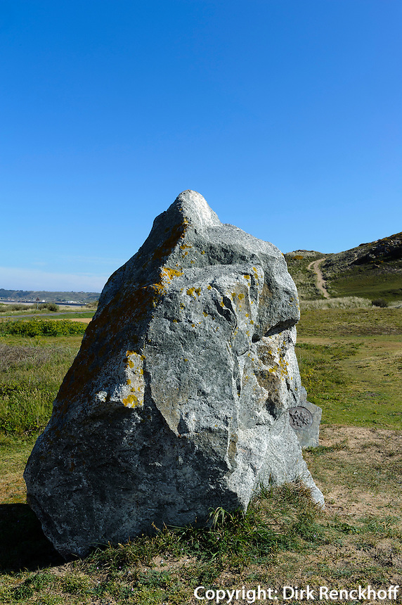 Menhir an südlicher St.Quen's Bay, Insel Jersey, Kanalinseln