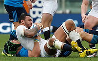 Rugby, Torneo delle Sei Nazioni: Italia vs Inghilterra. Roma, 14 febbraio 2016.<br /> England's Courtney Lawes is challenged by Italy's Francesco Minto, bottom left, during the Six Nations rugby union international match between Italy and England at Rome's Olympic stadium, 14 February 2016.<br /> UPDATE IMAGES PRESS/Riccardo De Luca