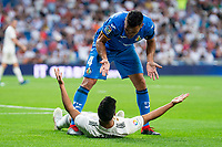 Real Madrid Marco Asensio and Getafe CF Bruno Gonzalez during La Liga match between Real Madrid and Getafe CF at Santiago Bernabeu in Madrid, Spain. August 19, 2018.  *** Local Caption *** © pixathlon