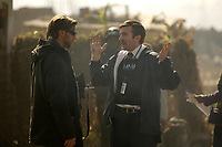 District 9 (2009) <br /> Behind the scenes photo of Neill Blomkamp &amp; Sharlto Copley<br /> *Filmstill - Editorial Use Only*<br /> CAP/KFS<br /> Image supplied by Capital Pictures