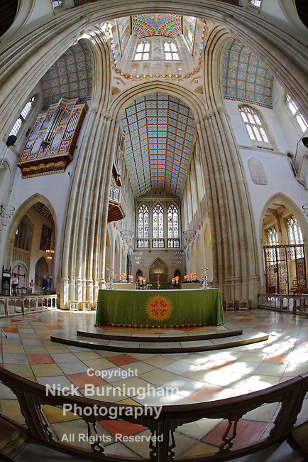 BURY ST EDMUNDS, SUFFOLK, UK - AUGUST 2, 2012: Interior of St Edmundsbury Cathedral on August 2, 2012. The cathedral originates from St Denis's Church built on the site in 1065.