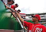 24 May 2009: Washington Nationals' center fielder Justin Maxwell signs autographs prior to a game against the Baltimore Orioles at Nationals Park in Washington, DC. The Nationals rallied to defeat the Orioles 8-5 and salvage one win of their interleague series. Mandatory Credit: Ed Wolfstein Photo