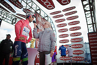 Michael Matthews (AUS/Orica-GreenEDGE) as the overall leader interviewed on the start podium<br /> <br /> Giro d'Italia 2014<br /> stage 3: Armagh (NI) - Dublin (IRL) 187km