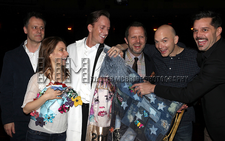 Michael Grandage, Elena Roger, Matt Wall, Rob Ashford, Michael Cerveris & Ricky Martin.attending the Broadway Opening Night Actors' Equity Gypsy Robe Ceremony for recipient Matt Wall in 'EVITA' at the Marquis Theatre in New York City on 4/5/2012 © Walter McBride/WM Photography