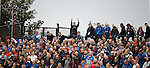 Rangers fans squeezing onto the terracing at Somerset Park