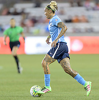 Houston, TX - Friday April 29, 2016: Tasha Kai (32) of Sky Blue FC brings the ball up the field against the Houston Dash at BBVA Compass Stadium. The Houston Dash tied Sky Blue FC 0-0.