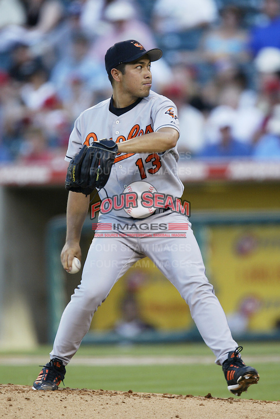 Rodrigo Lopez of the Baltimore Orioles pitches during a 2002 MLB season game against the Los Angeles Angels at Angel Stadium, in Los Angeles, California. (Larry Goren/Four Seam Images)