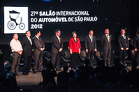 ATENCAO EDITOR IMAGEM EMBARGADA PARA VEICULOS INTERNACIONAIS -   SAO PAULO, SP, 24 OUTUBRO 2012 - SALAO INTERNACIONAL DO AUTOMOVEL - A presidente Dilma Rousseff,  durante cerimonia de abertura 27 Salao Internacional do Automovel no Anhembi na regiao norte da capital paulista, nesta quarta-feira, 24. A presidente na cerimonia informou que a taxa do IPI sera prorrogada ate 31/12/2012 . (FOTO: WILLIAM VOLCOV / BRAZIL PHOTO PRESS).