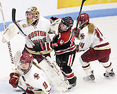 Corinne Boyles (BC - 29), Kendall Coyne (Northeastern - 77), Emily Pfalzer (BC - 14) - The Northeastern University Huskies defeated the Boston College Eagles in a shootout on Monday, January 31, 2012, in the opening round of the 2012 Women's Beanpot at Walter Brown Arena in Boston, Massachusetts. The game is considered a 1-1 tie for NCAA purposes.