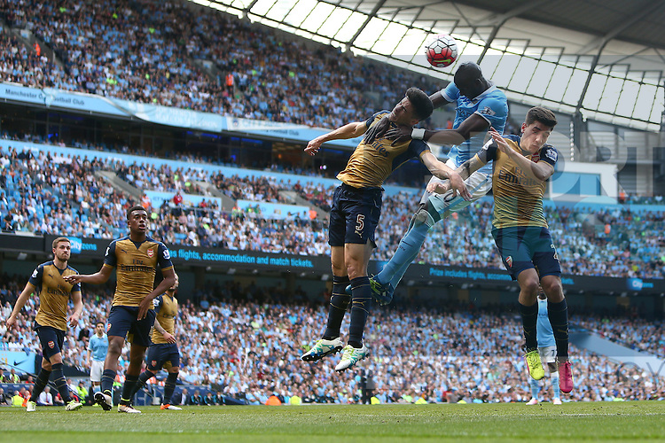 Eliaquim Mangala of Manchester City wins a header during the Barclays Premier League match at the Etihad Stadium. Photo credit should read: Philip Oldham/Sportimage