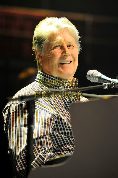 Brian Wilson.The Beach Boys performing at the Royal Albert Hall, Kensington, London, England. .27th September 2012.on stage in concert live gig performance music headshot portrait brown blue check shirt half length.CAP/MAR.© Martin Harris/Capital Pictures.