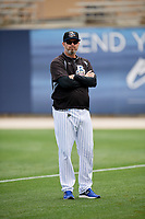 Biloxi Shuckers pitching coach Chris Hook (37) before a game against the Jackson Generals on April 23, 2017 at MGM Park in Biloxi, Mississippi.  Biloxi defeated Jackson 3-2.  (Mike Janes/Four Seam Images)