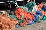 Colourful fishing nets Harwich, Essex, England