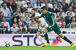 Cristian Tello Herrera (r) of Real Betis fights for the ball with Daniel Carvajal Ramos of Real Madrid during the La Liga 2017-18 match between Real Madrid and Real Betis at Estadio Santiago Bernabeu on 20 September 2017 in Madrid, Spain. Photo by Diego Gonzalez / Power Sport Images