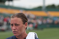 Abby Wambach of the USWNT speaks to the media at the conclusion of the game in which she scored her 100th career goal in the second half. The U.S. Women's National Team defeated Canada 1-0 in a friendly match at Marina Auto Stadium in Rochester, NY on July 19, 2009.