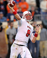 Oct. 22, 2011 - Charlottesville, Virginia - USA; North Carolina State quarterback Mike Glennon (8) handles the ball during an NCAA football game against the Virginia Cavaliers at the Scott Stadium. NC State defeated Virginia 28-14. (Credit Image: © Andrew Shurtlef