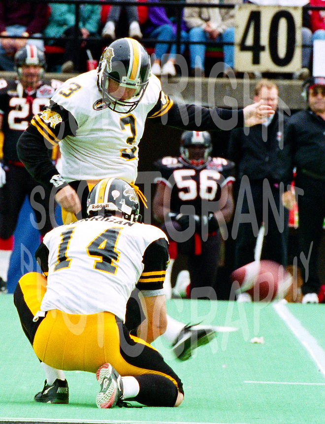 Paul Osbaldiston Hamilton Tiger Cats 1996. Photo John Bradley