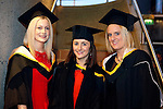 REPRO FREE<br /> 19/01/2015<br /> Louise Dineen, Blackwater, Co. Clare, Catherine O'Riordan, Maynooth, Co. Kildare and Geraldine McCarthy, Kinsale, Co. Cork who graduated with Masters in Work Organisation Behaviour / Psychology at the University of Limerick winter conferring ceremony.<br /> As the University of Limerick commences three days of Winter conferring ceremonies which will see 1831 students conferring, including 74 PhDs, UL President, Professor Don Barry highlighted the increasing growth in demand for UL graduates by employers and the institution&rsquo;s position as Sunday Times University of the Year. <br /> Pic: Don Moloney/Press 22