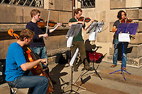 Young musicians performing on the street, Schlossstrasse, Dresden, Saxony, Germany