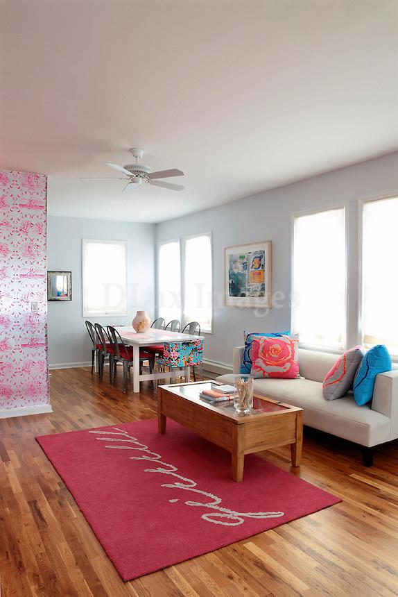 bright girly living room
