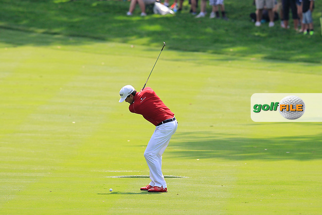 Keegan Bradley (USA) chips into the 3rd green during Sunday's Final Round to win the WGC Bridgestone Invitational, held at the Firestone Country Club, Akron, Ohio.: Picture Eoin Clarke, www.golffile.ie: 3rd August 2014
