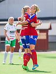 Stockholm 2015-07-11 Fotboll Damallsvenskan Hammarby IF DFF - Vittsj&ouml; GIK :  <br /> Vittsj&ouml;s Linda S&auml;llstr&ouml;m friar sitt 0-2 m&aring;l med Kirsty Yallop under matchen mellan Hammarby IF DFF och Vittsj&ouml; GIK <br /> (Foto: Kenta J&ouml;nsson) Nyckelord:  Fotboll Damallsvenskan Dam Damer Zinkensdamms IP Zinkensdamm Zinken Hammarby HIF Bajen Vittsj&ouml; GIK jubel gl&auml;dje lycka glad happy