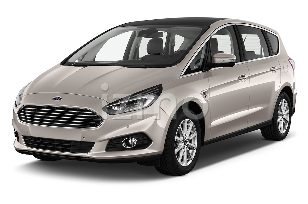 2016 Ford S-Max Titanium 5 Door Minivan Angular Front stock photos of front three quarter view
