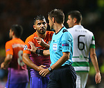 Sergio Aguero of Manchester City complains to the referee during the Champions League Group C match at the Celtic Park Stadium, Glasgow. Picture date: September 28th, 2016. Pic Simon Bellis/Sportimage