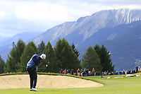 Mikko Ilonen (FIN) plays his 2nd shot on the 17th hole during Sunday's Final Round of the 2017 Omega European Masters held at Golf Club Crans-Sur-Sierre, Crans Montana, Switzerland. 10th September 2017.<br /> Picture: Eoin Clarke | Golffile<br /> <br /> <br /> All photos usage must carry mandatory copyright credit (&copy; Golffile | Eoin Clarke)
