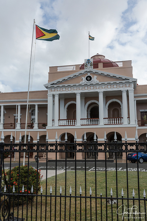 The Parliament Building in Georgetown, Guyana was completed in 1834 in the 19th Century classical rensissance architectural style.  In front are two Russion cannons captured at the Battle of Sebastopol in the Crimean War.