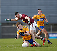 26th January 2020; TEG Cusack Park, Mullingar, Westmeath, Ireland; Allianz Football Division 2 Gaelic Football, Westmeath versus Clare; Dermot Coughlan (Clare) and James Dolan (Westmeath) clash